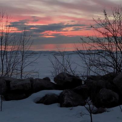 Early Spring Sunrise, Lake Michigan