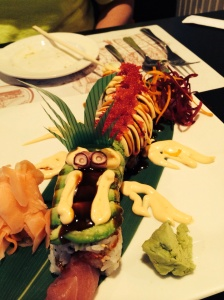 Dragon Roll sticking out its tongue.